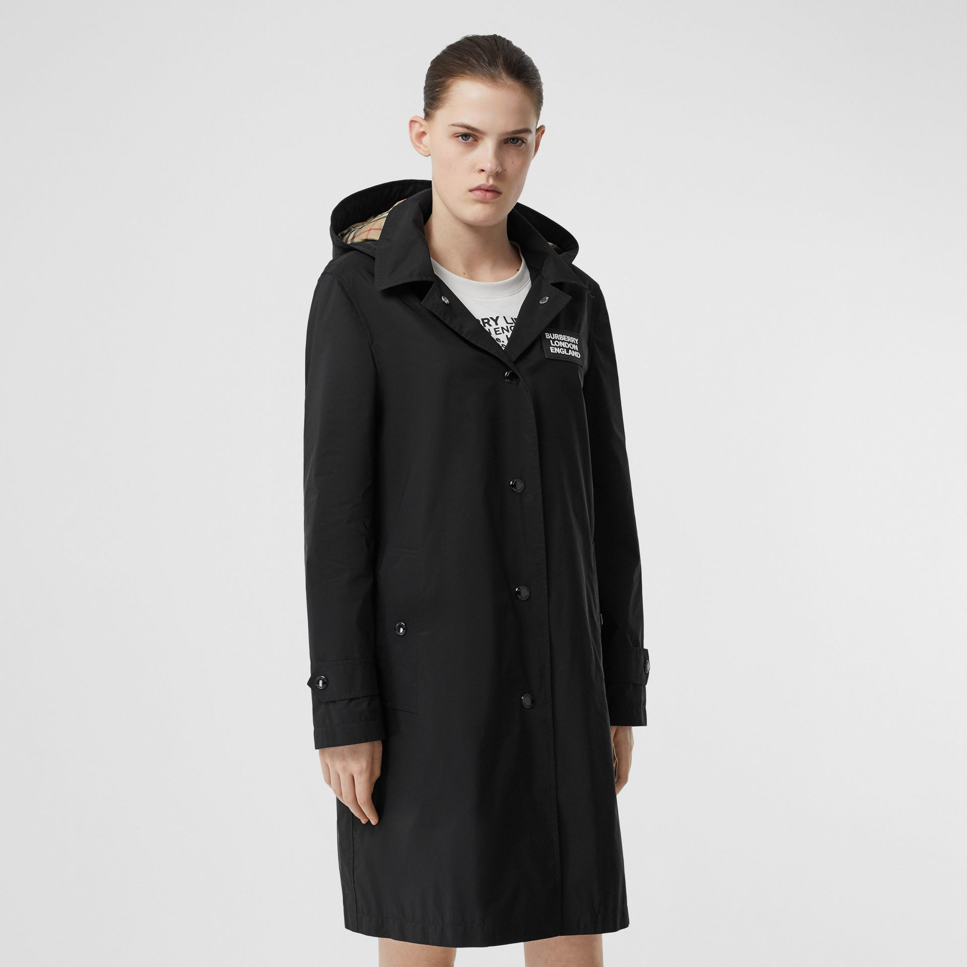 Detachable Hood Shape-memory Taffeta Car Coat in Black - Women | Burberry - gallery image 0