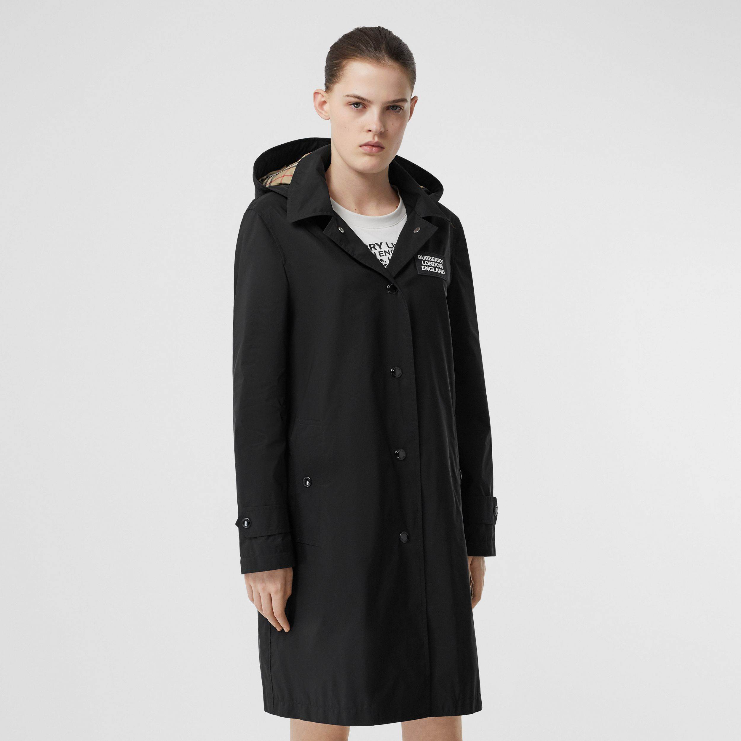 Detachable Hood Shape-memory Taffeta Car Coat in Black - Women | Burberry - 1