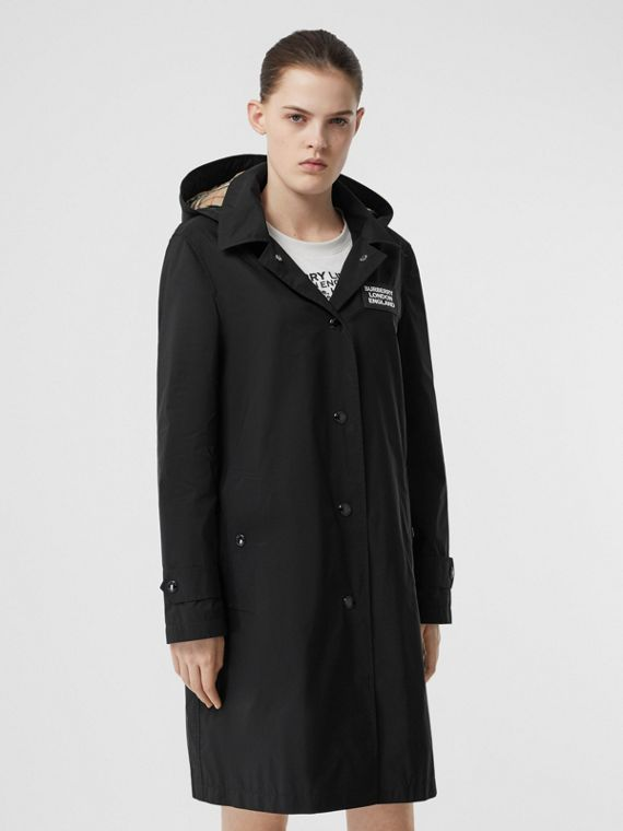 Detachable Hood Shape-memory Taffeta Car Coat in Black