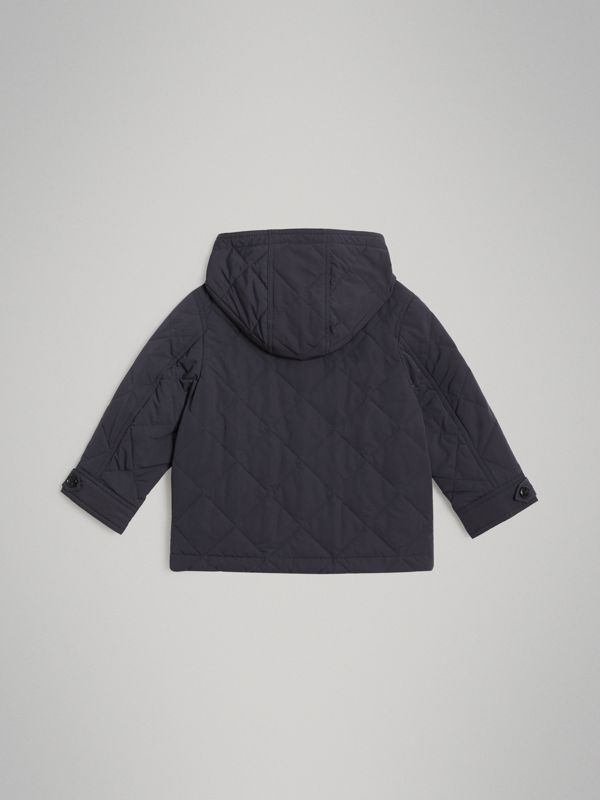 Diamond Quilted Hooded Jacket in Navy | Burberry - cell image 3