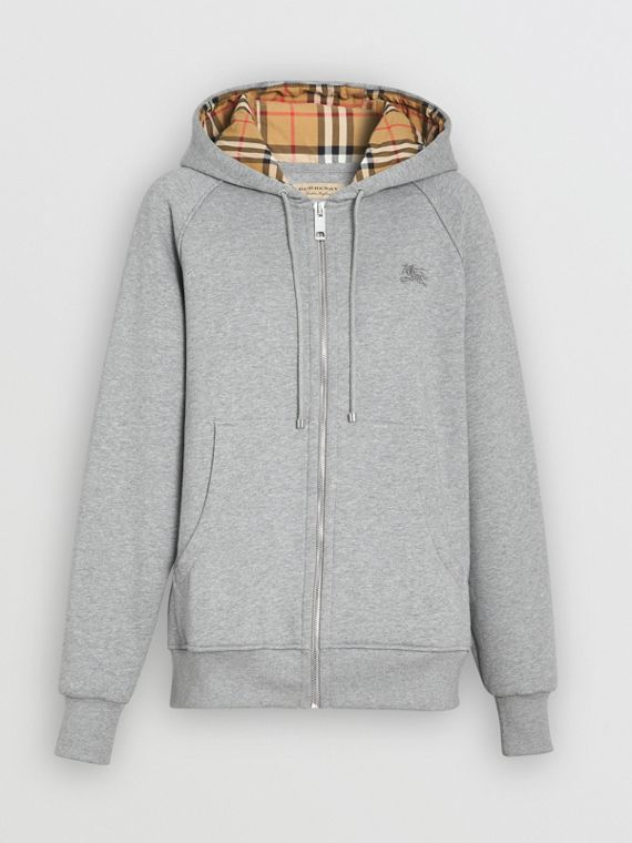Vintage Check Detail Jersey Hooded Top in Pale Grey Melange
