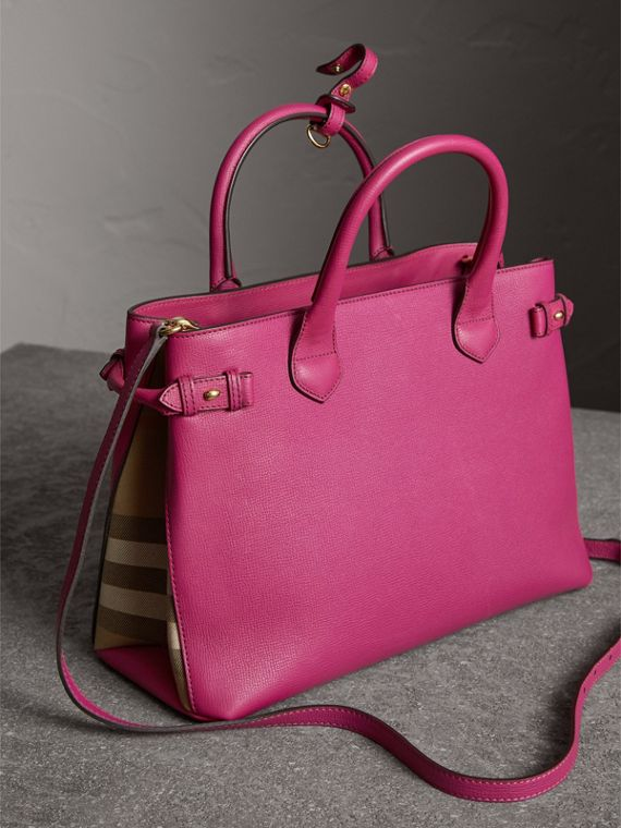 The Medium Banner in Leather and House Check in Brilliant Fuchsia - Women | Burberry - cell image 3