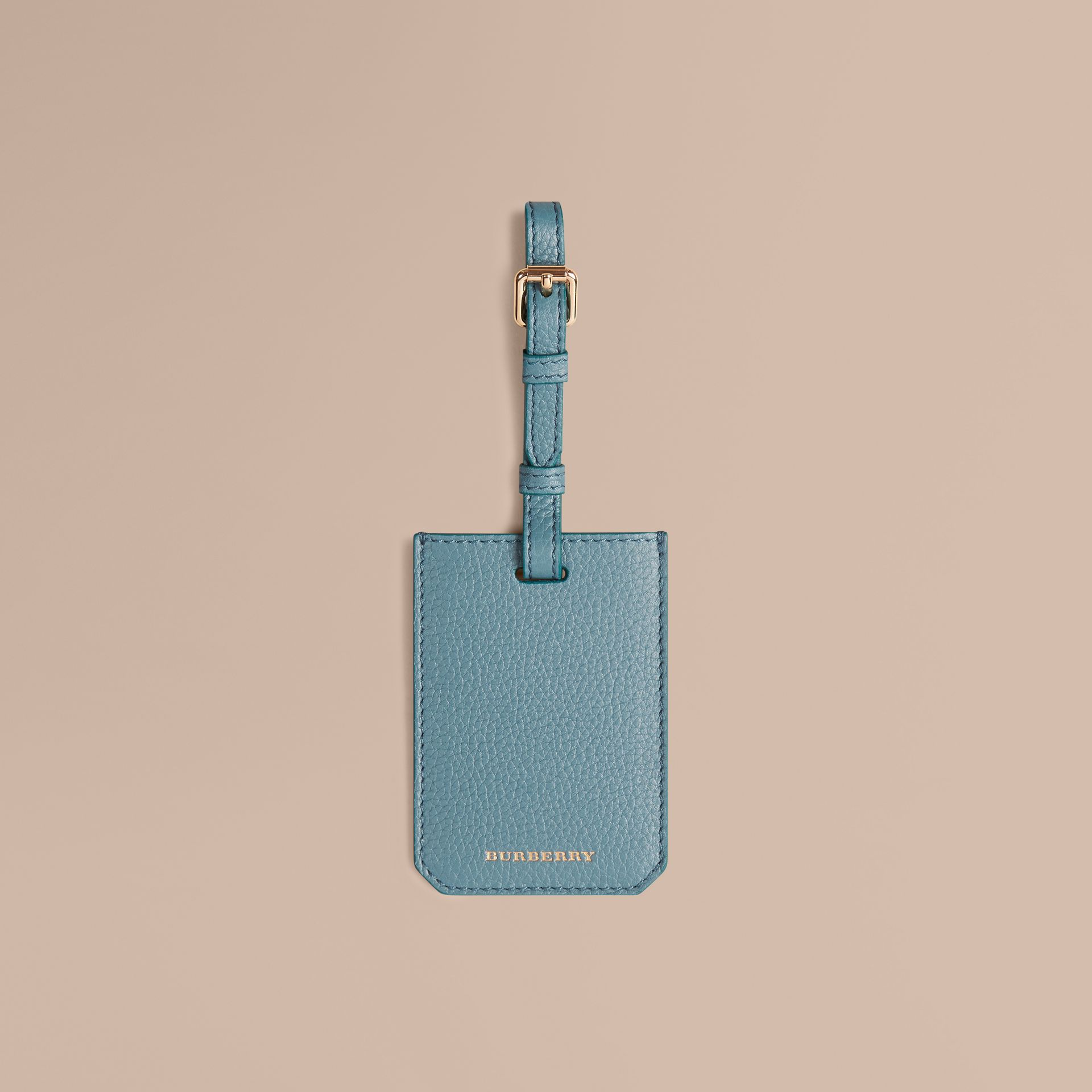 Grainy Leather Luggage Tag in Dusty Teal | Burberry - gallery image 1
