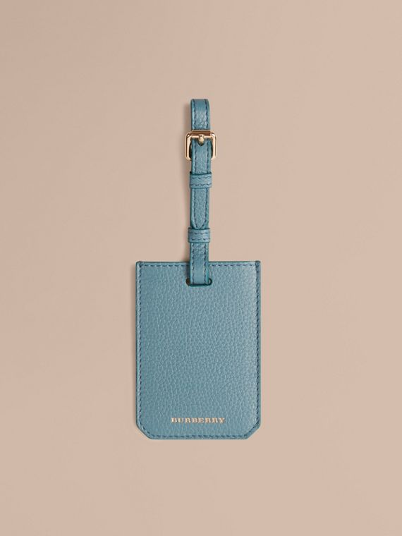 Grainy Leather Luggage Tag in Dusty Teal