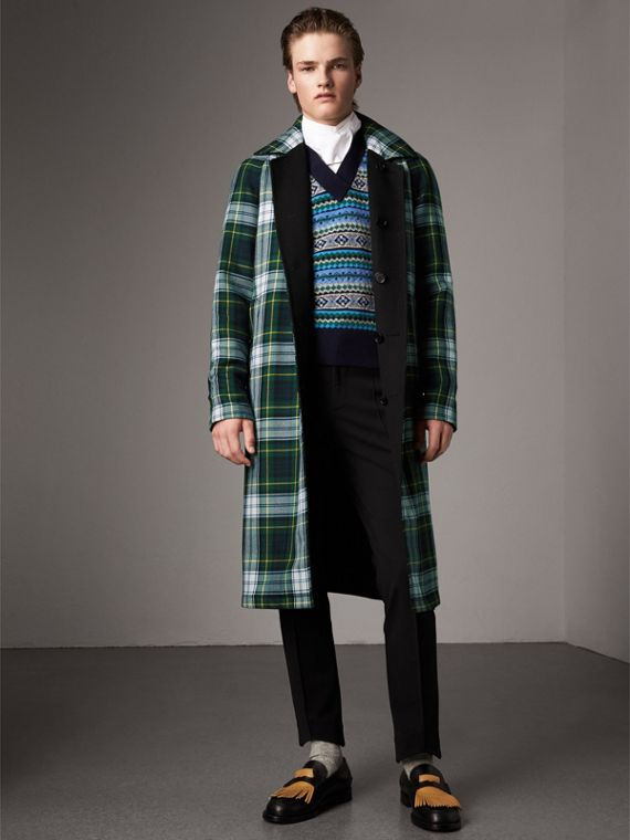 Car coat double face in cashmere e lana con motivo tartan (Nero)