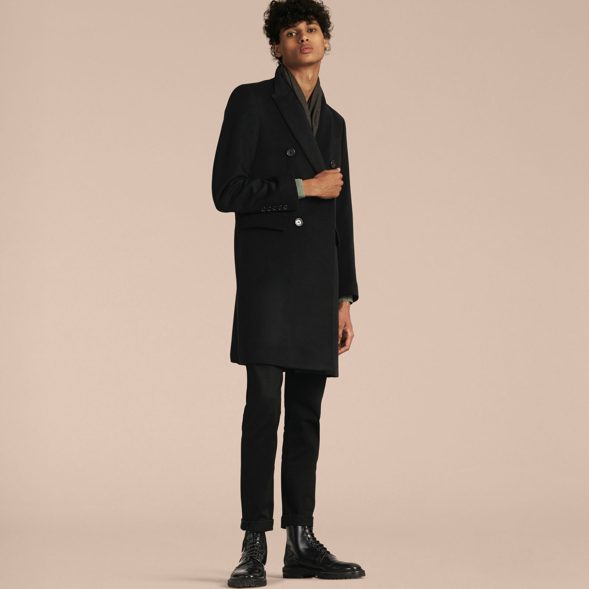 Black Double-breasted Wool Cashmere Tailored Coat - gallery image 7
