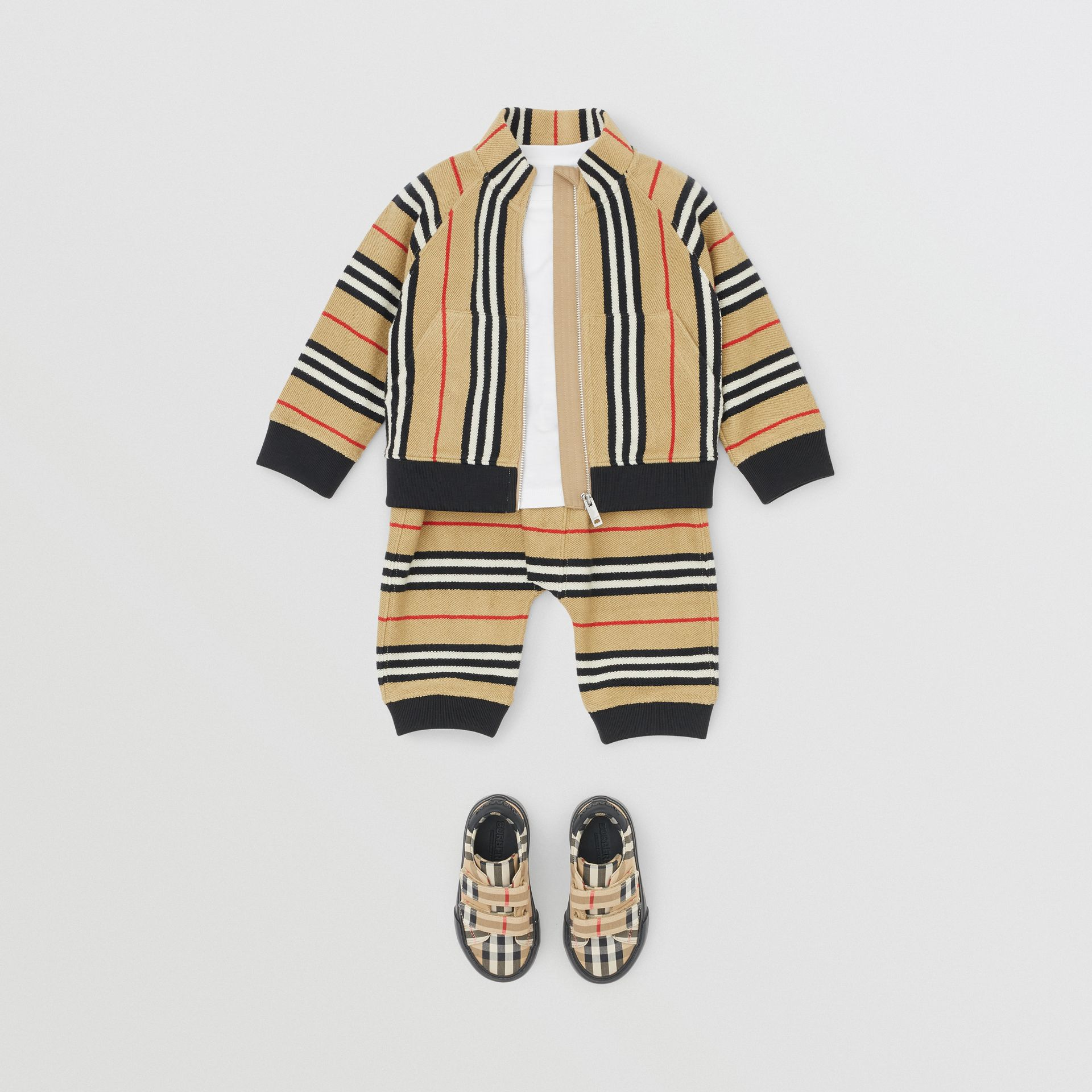 Icon Stripe Cotton Track Top in Archive Beige - Children | Burberry - gallery image 3