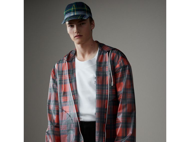 Tartan Soft-touch Plastic Cagoule in Bright Red - Men | Burberry Hong Kong - cell image 4
