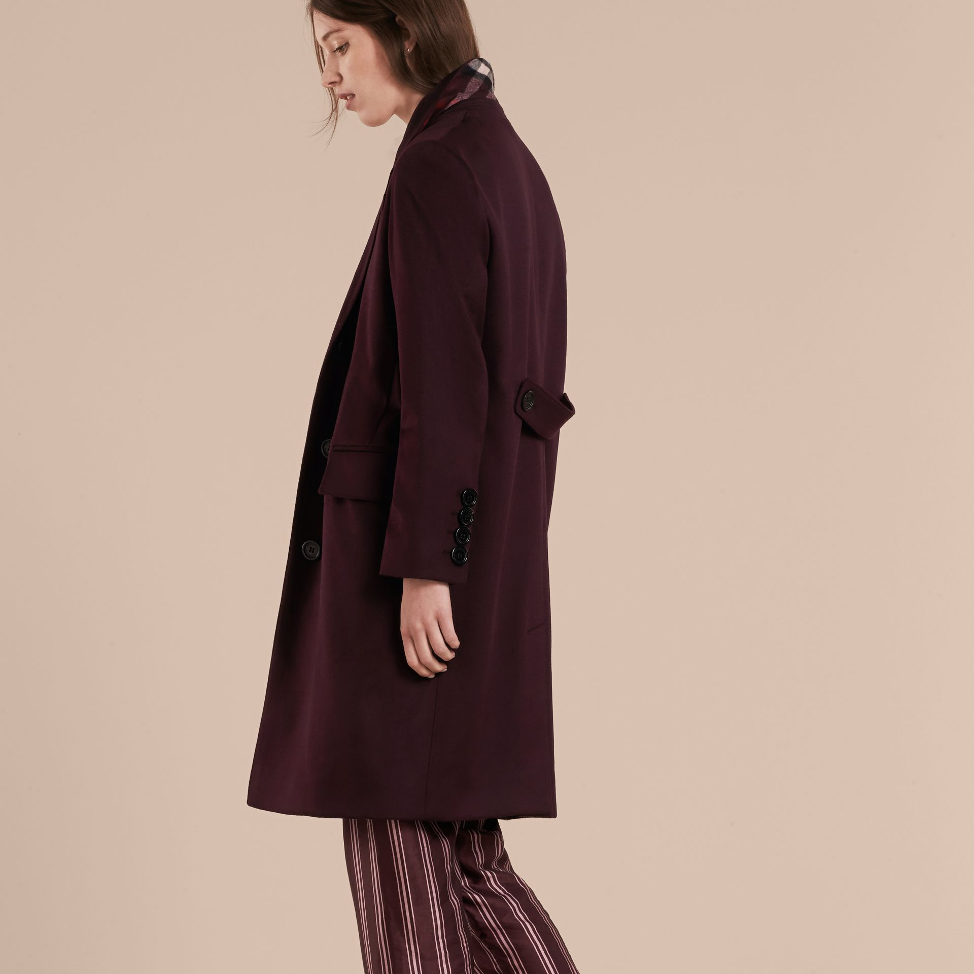 Dark elderberry Cashmere Tailored Coat Dark Elderberry - gallery image 3
