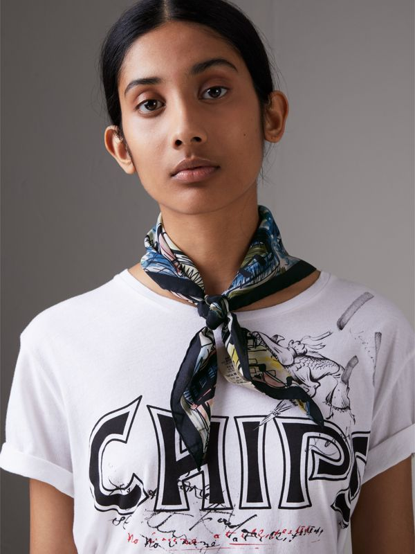 The Burberry Bandana in Coastal Print Silk in Rose Pink | Burberry United Kingdom - cell image 2