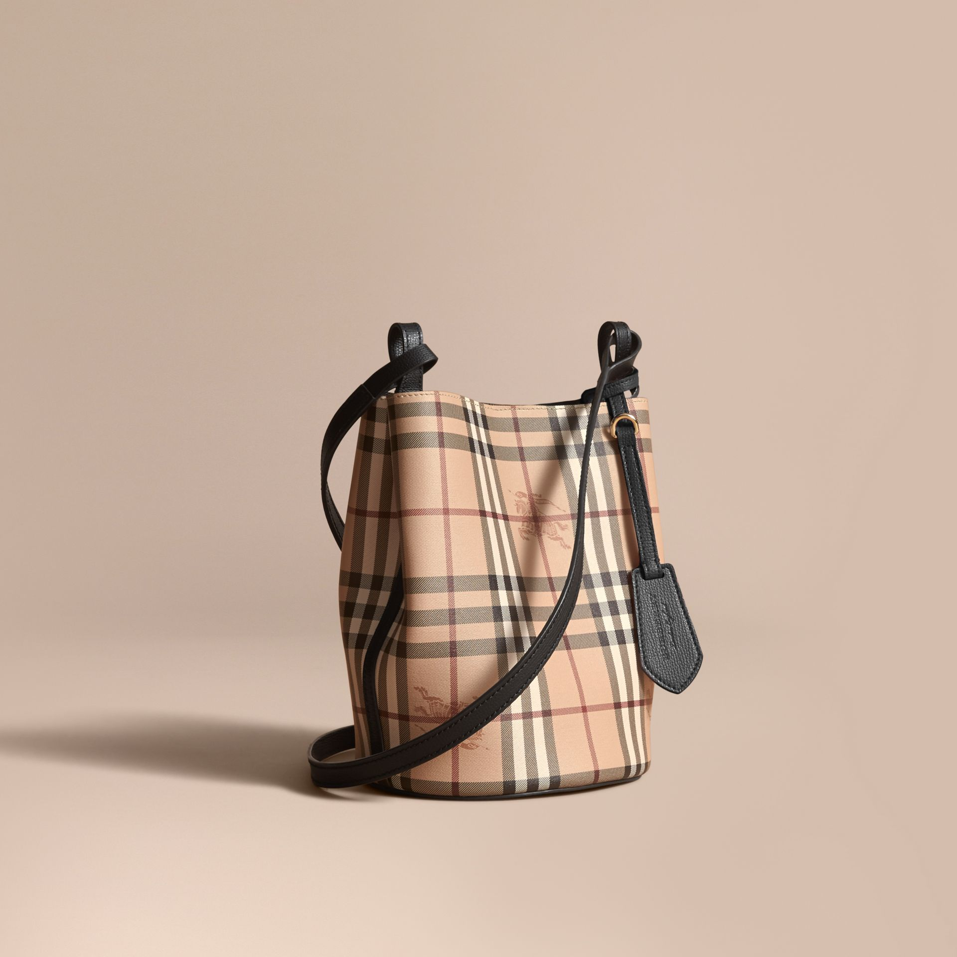 Leather and Haymarket Check Crossbody Bucket Bag in Black - Women | Burberry - gallery image 1