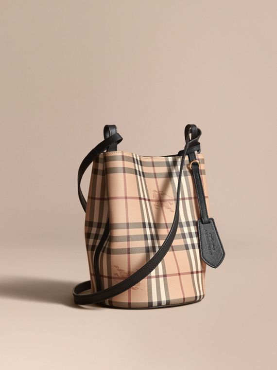 Leather and Haymarket Check Crossbody Bucket Bag Black