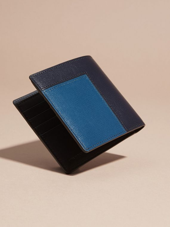Dark navy Patchwork London Leather Folding Wallet Dark Navy - cell image 3