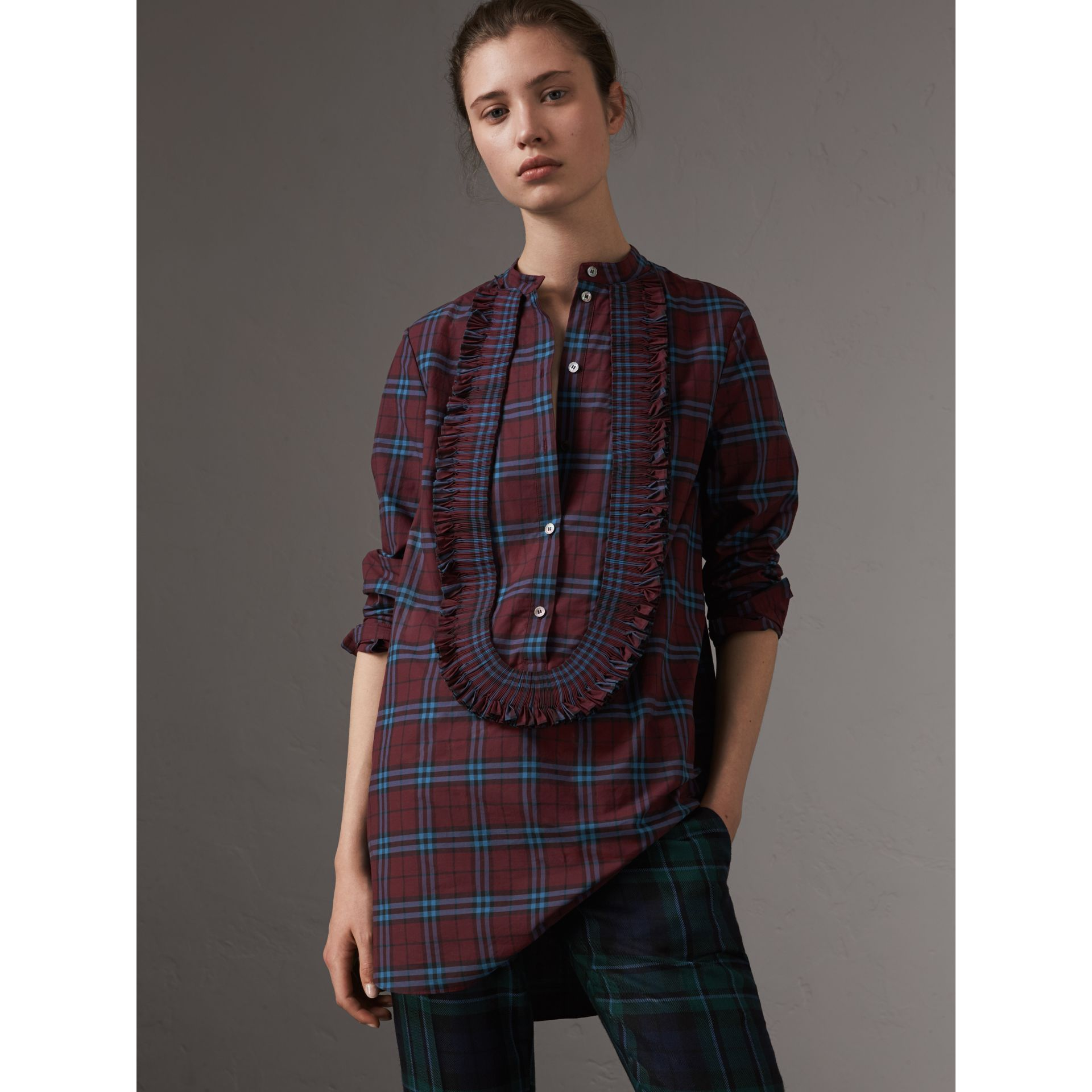 Ruffle Detail Check Cotton Tunic Shirt in Crimson Red - Women | Burberry United States - gallery image 1