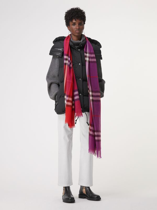 Colour Block Check Wool Silk Scarf in Bright Plum | Burberry - cell image 2