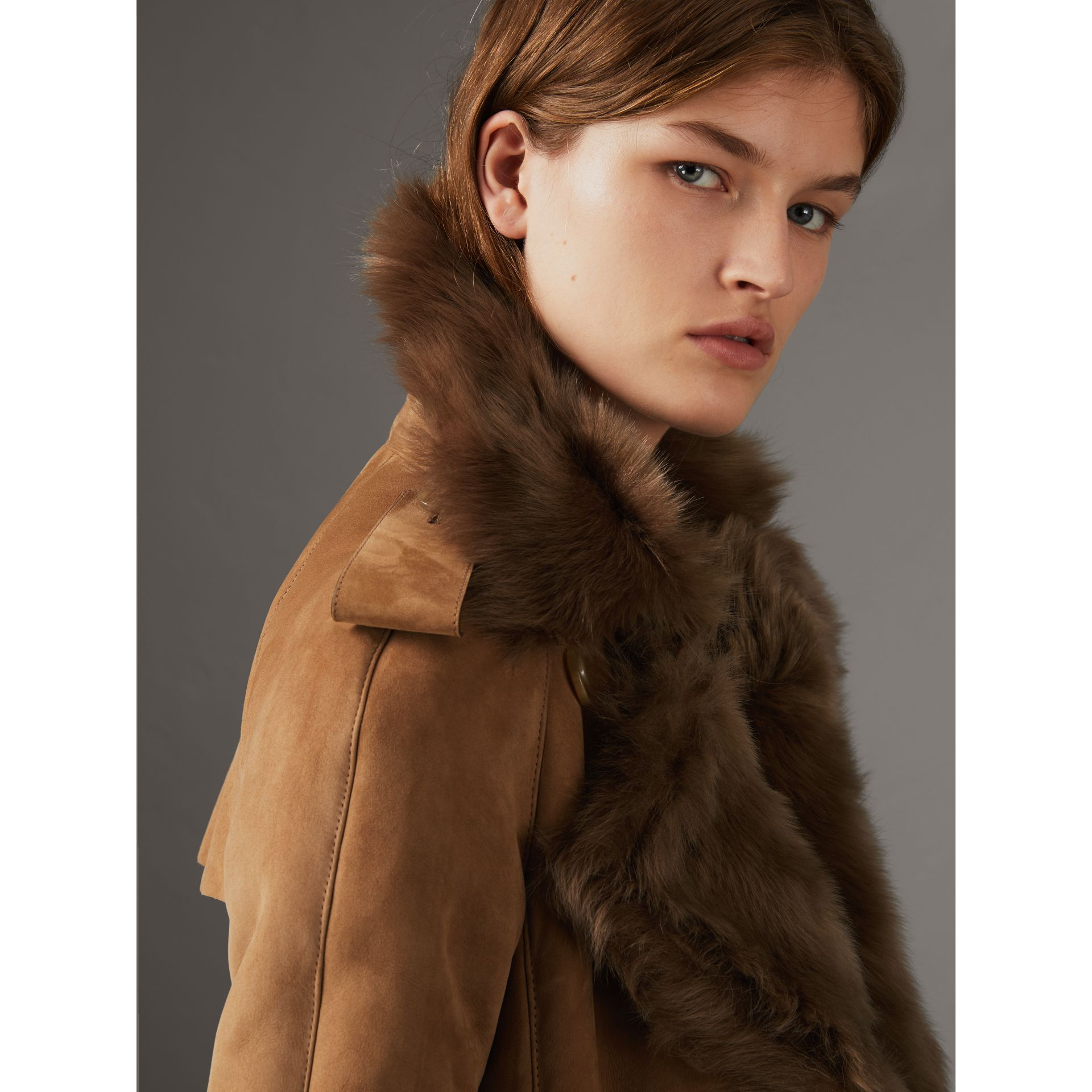 Shearling Trench Coat in Dark Camel - Women | Burberry - gallery image 1