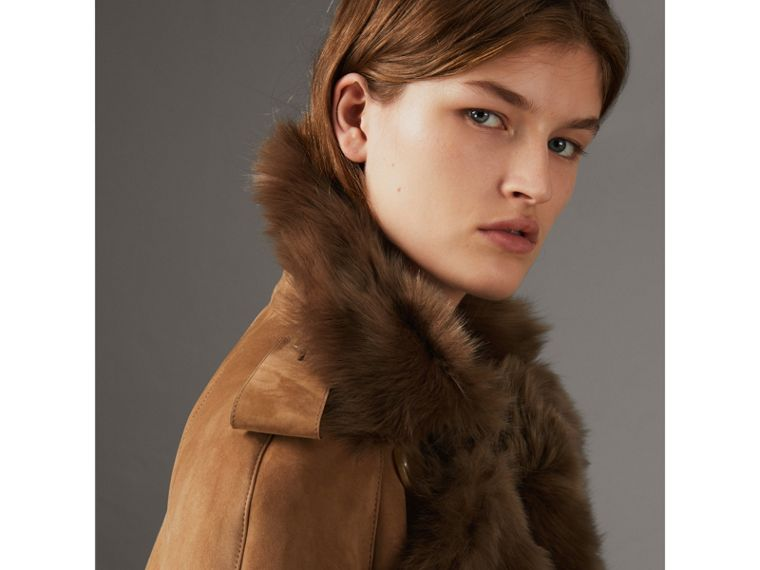 Shearling Trench Coat in Dark Camel - Women | Burberry Canada - cell image 1