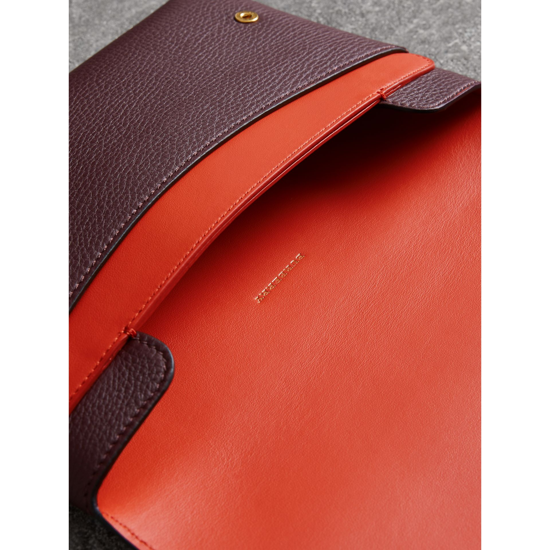 Two-tone Leather Wristlet Clutch in Deep Claret - Women | Burberry - gallery image 5