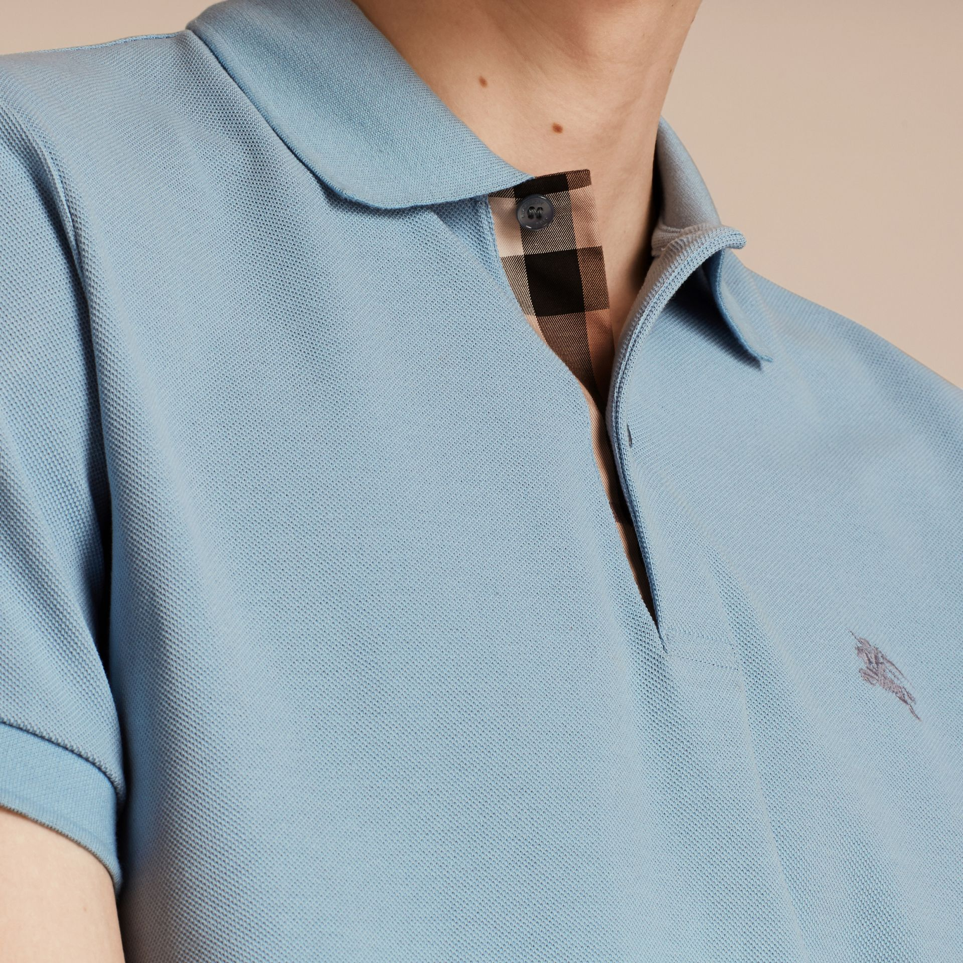 Check Placket Cotton Piqué Polo Shirt Pale Blue - gallery image 5