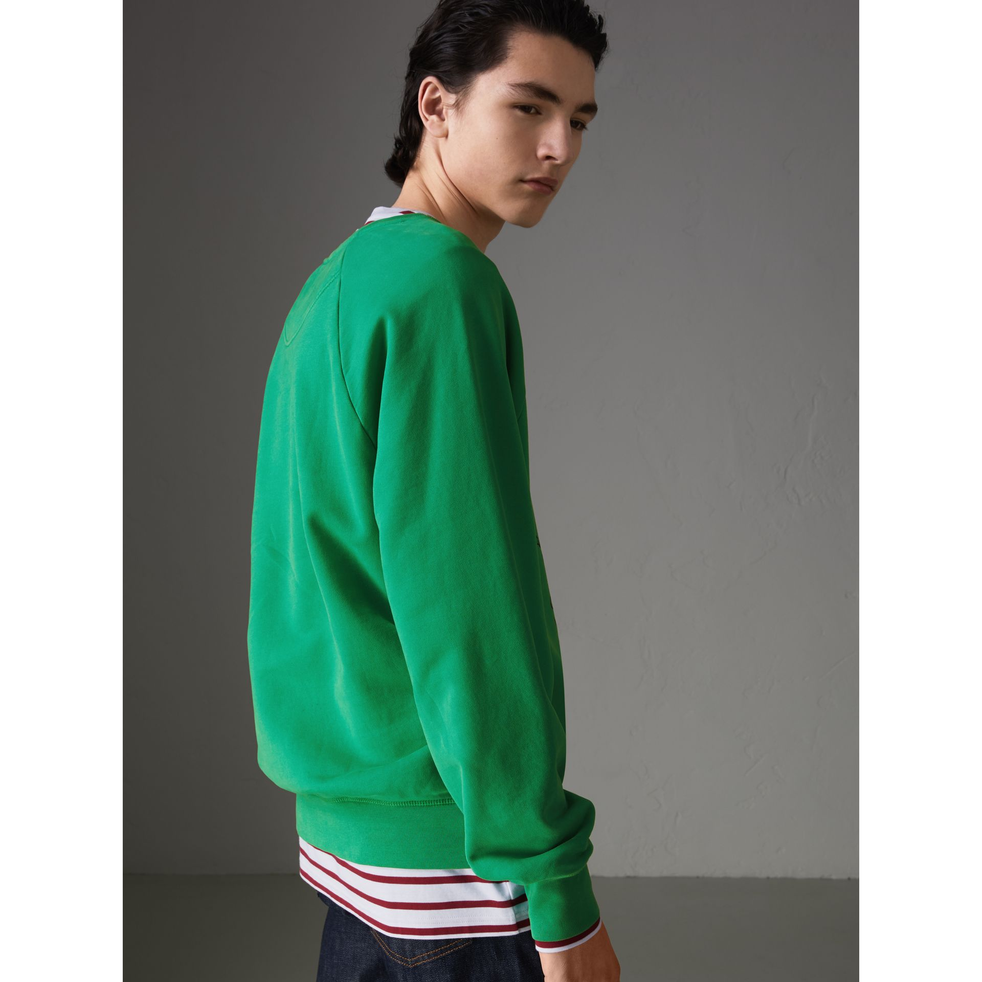 Adventure Print Cotton Sweatshirt in Bright Green - Men | Burberry - gallery image 2