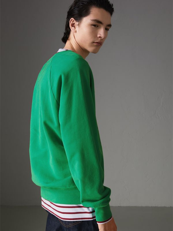 Adventure Print Cotton Sweatshirt in Bright Green - Men | Burberry - cell image 2