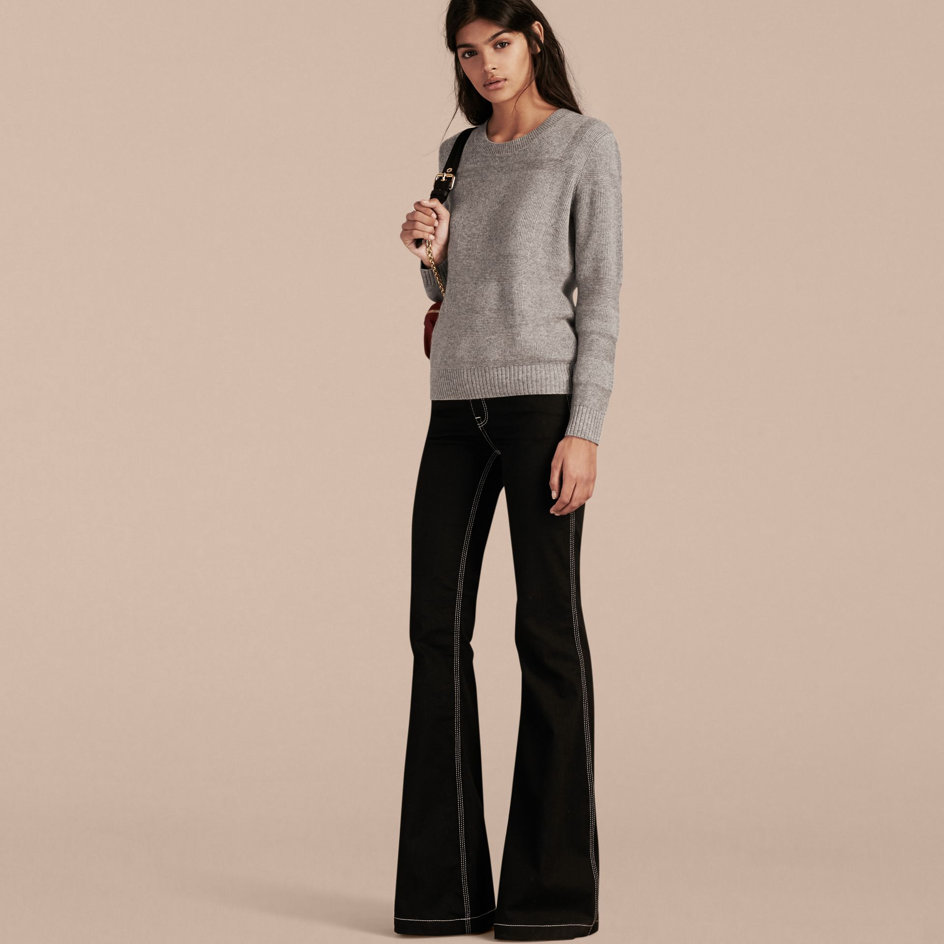 Check-knit Wool Cashmere Sweater Light Grey Melange - gallery image 6