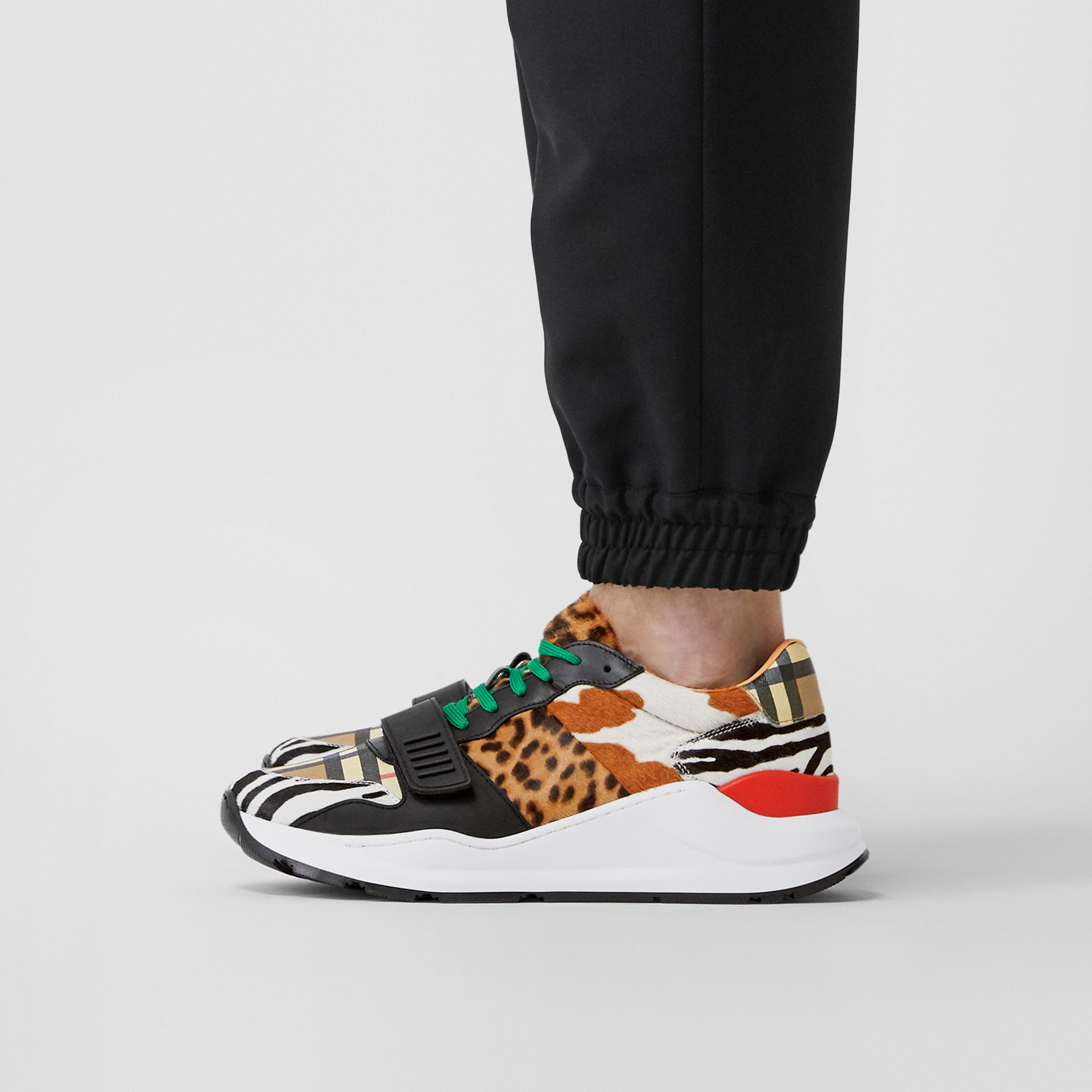 Animal Print and Vintage Check Sneakers in Archive Beige - Men | Burberry - gallery image 2
