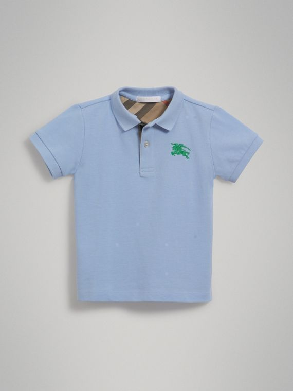 Check Placket Polo Shirt in Sky Blue
