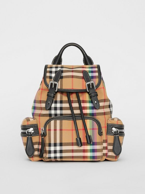 The Small Crossbody Rucksack in Rainbow Vintage Check in Antique Yellow