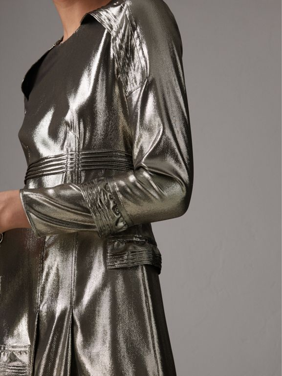 Long-sleeve Ruffle Detail Lamé Dress in Silver - Women | Burberry United Kingdom - cell image 1