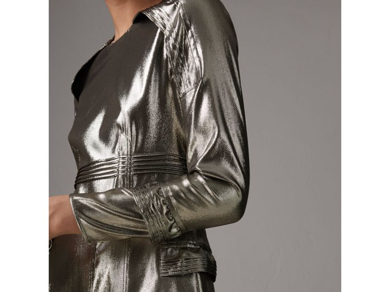 Long-sleeve Ruffle Detail Lamé Dress in Silver - Women | Burberry - cell image 1