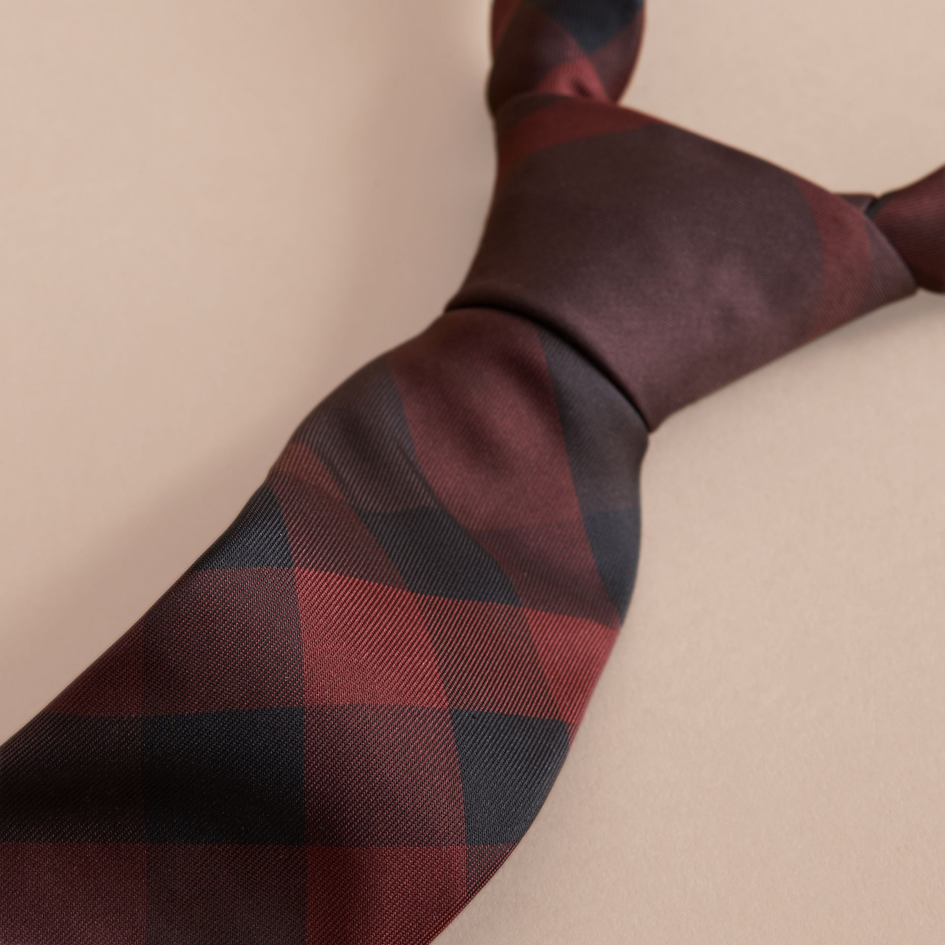 Modern Cut Check Silk Tie in Deep Claret - gallery image 2