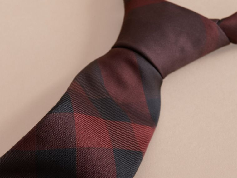 Modern Cut Check Silk Tie in Deep Claret - cell image 1