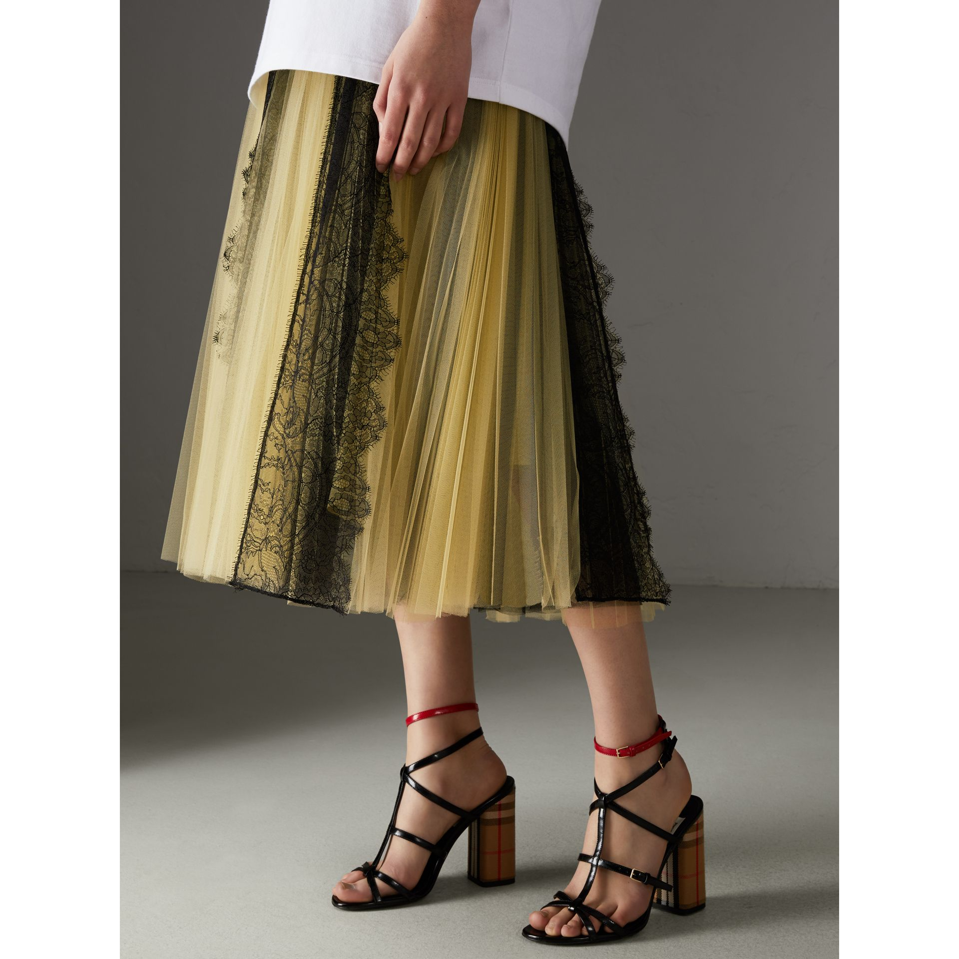 Lace Panel Pleated Tulle Skirt in Yellow - Women | Burberry - gallery image 4
