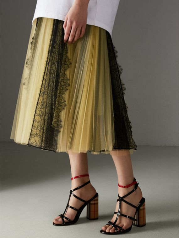 Lace Panel Pleated Tulle Skirt in Yellow