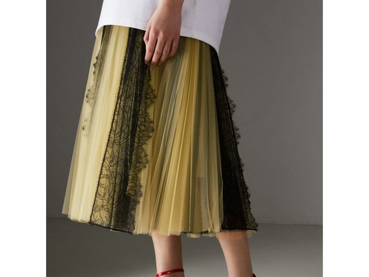 Lace Panel Pleated Tulle Skirt in Yellow - Women | Burberry - cell image 4