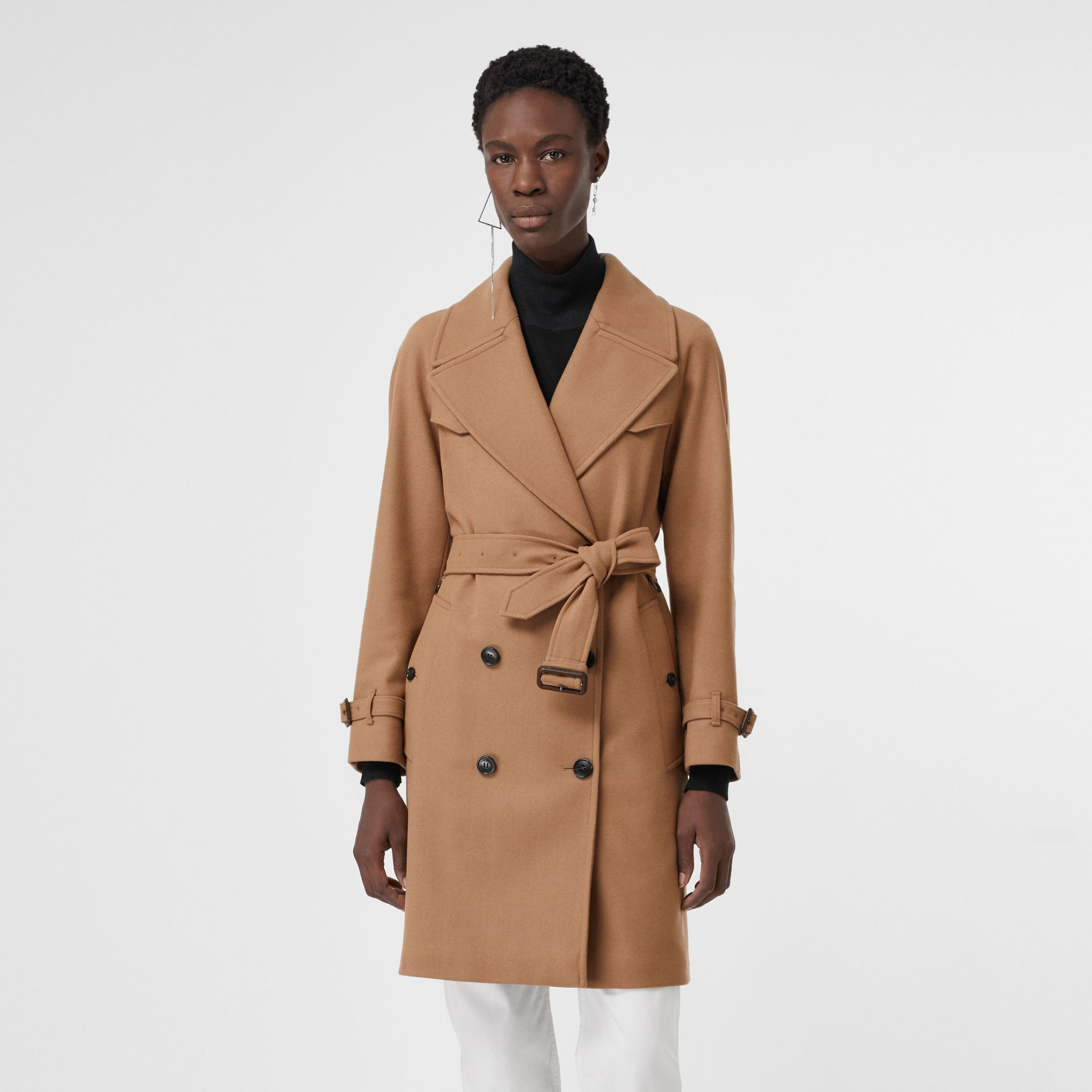 Herringbone Wool Cashmere Blend Trench Coat in Camel - Women | Burberry Singapore - gallery image 5