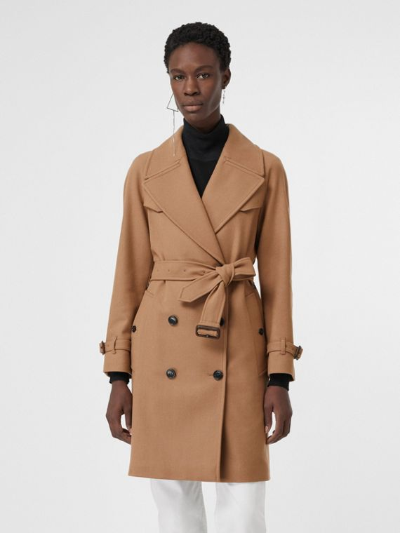 Herringbone Wool Cashmere Blend Trench Coat in Camel