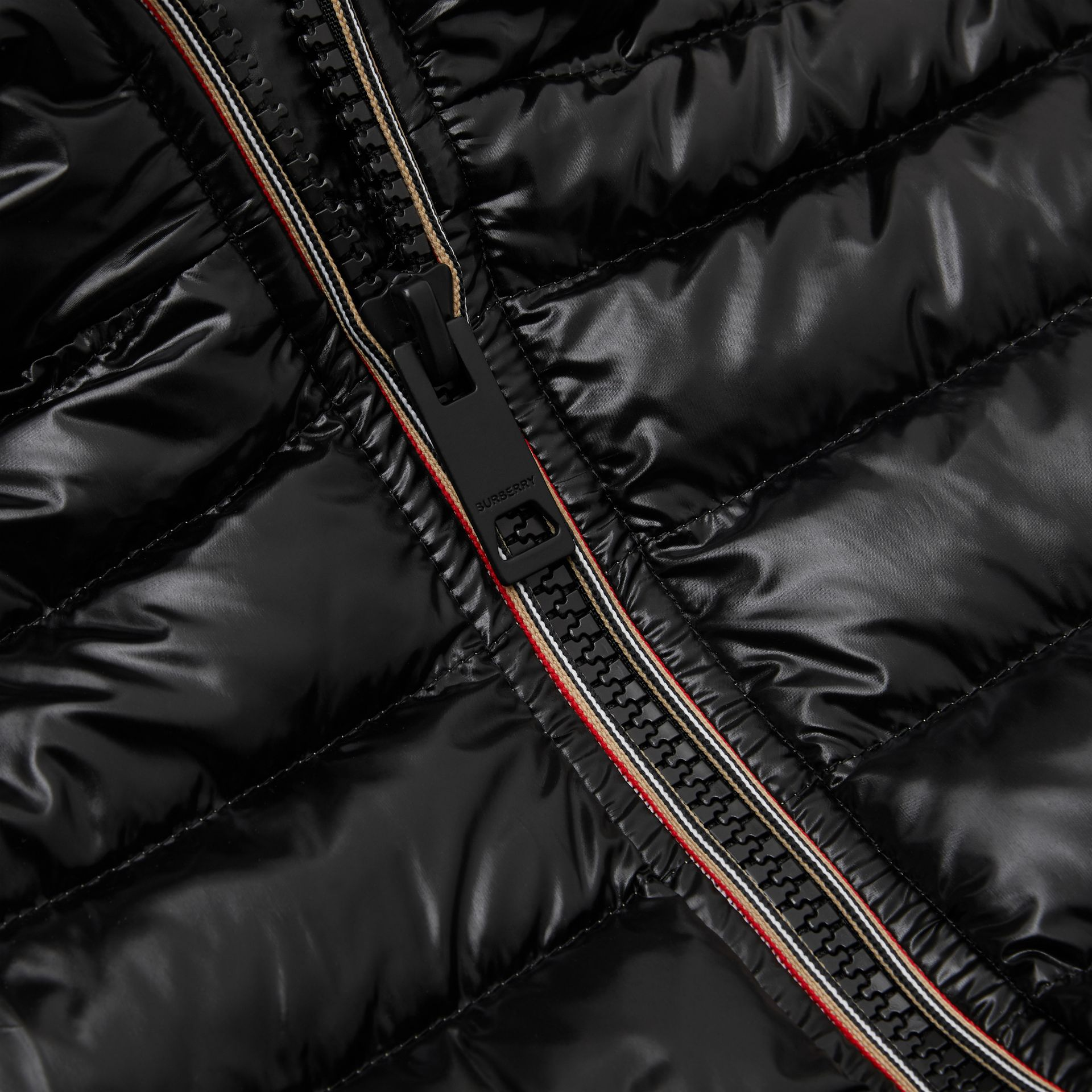 Icon Stripe Detail Down-filled Hooded Puffer Coat in Black | Burberry Australia - gallery image 1