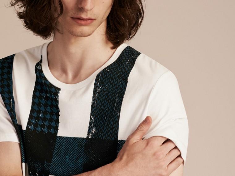 Blanc T-shirt en coton à motif check texturé Blanc - cell image 4