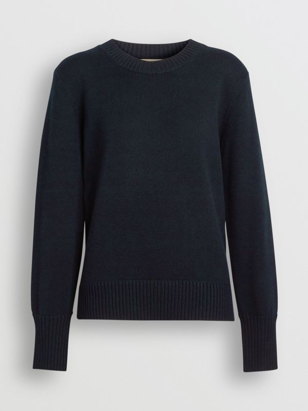 Archive Logo Appliqué Cashmere Sweater in Navy - Women | Burberry - cell image 3