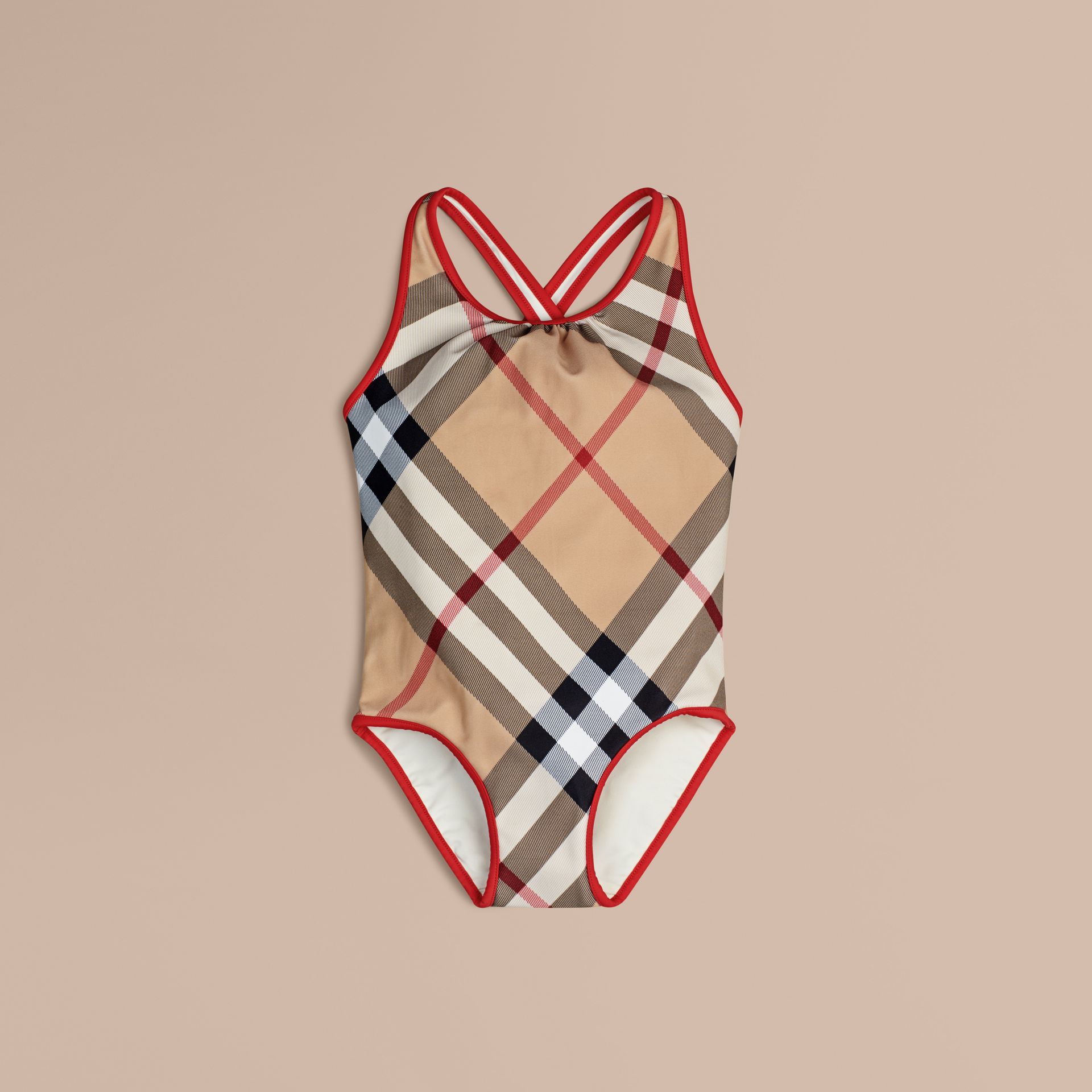 One-piece Check Swimsuit in New Classic - Girl | Burberry Australia - gallery image 1