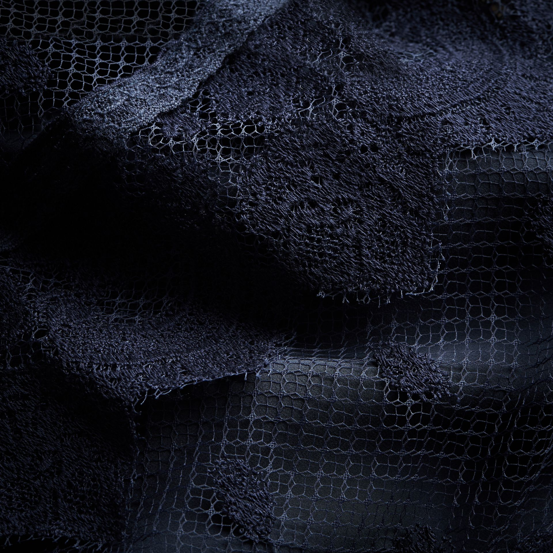 Embroidered Tulle Panel Dress in Navy - Women | Burberry Singapore - gallery image 2
