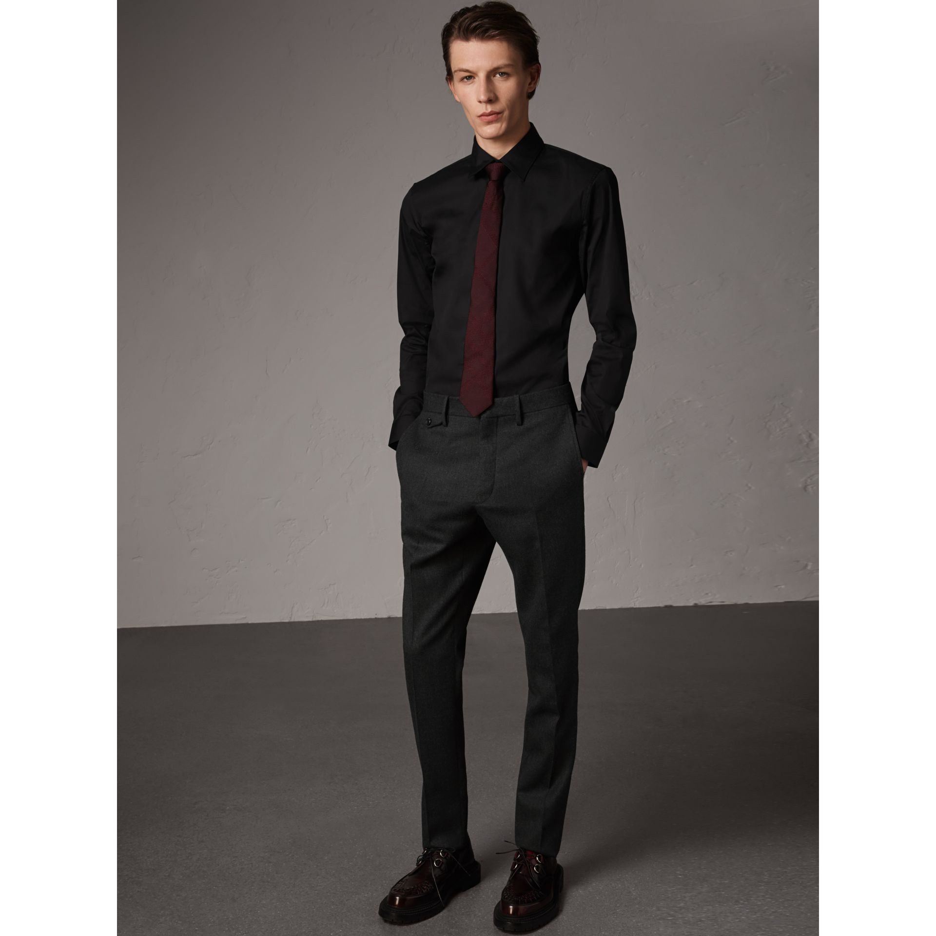 Slim Fit Stretch Cotton Shirt in Black - Men | Burberry - gallery image 4