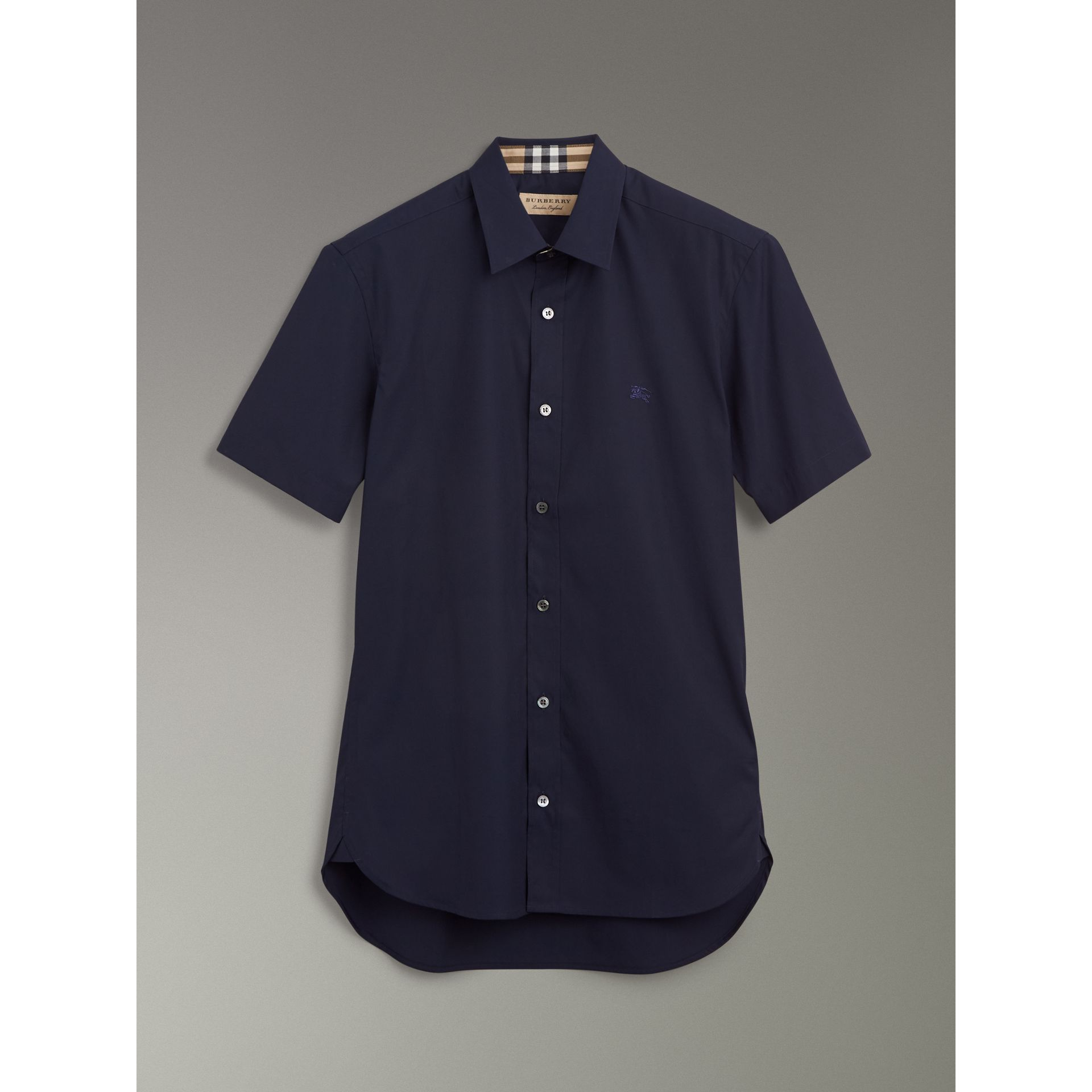 Short-sleeve Stretch Cotton Shirt in Navy - Men | Burberry - gallery image 3