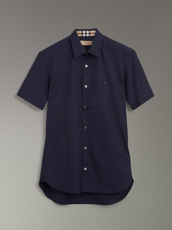 Short-sleeve Stretch Cotton Shirt in Navy - Men | Burberry Australia - cell image 3