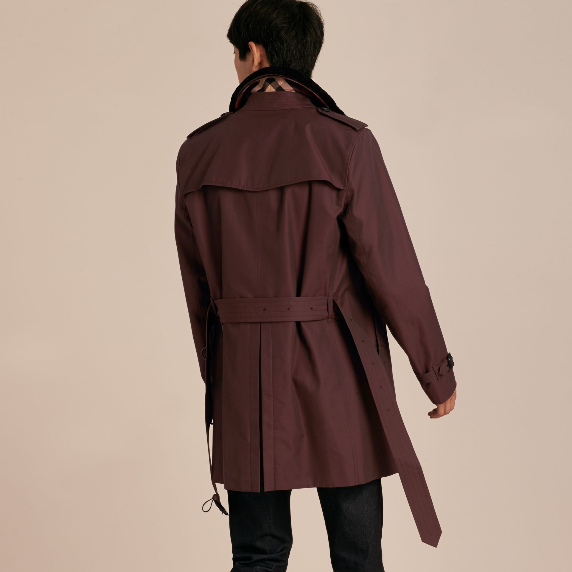 Detachable Shearling Topcollar Cotton Gabardine Trench Coat with Warmer in Mahogany Red - gallery image 3