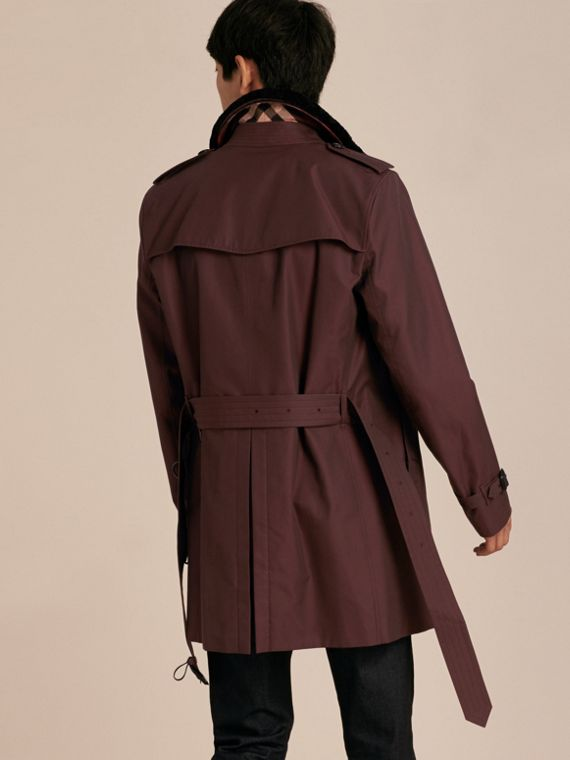 Detachable Shearling Topcollar Cotton Gabardine Trench Coat with Warmer in Mahogany Red - cell image 2