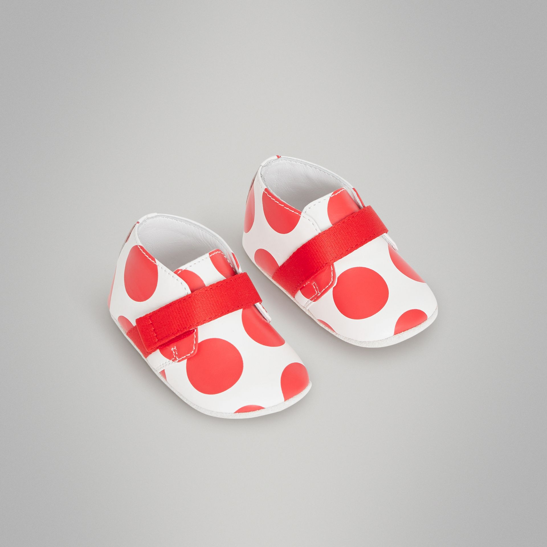 Spot Print Leather Shoes in Bright Red - Children | Burberry United Kingdom - gallery image 0