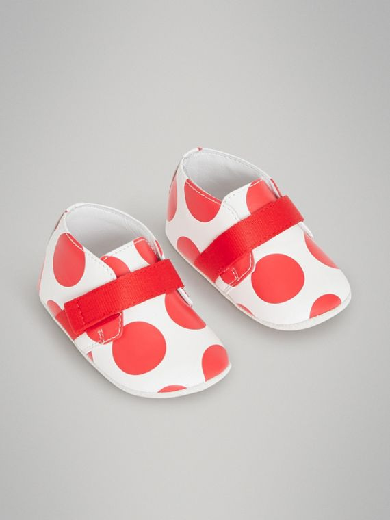 Spot Print Leather Shoes in Bright Red